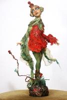 фимо, ткань - созданная вручную, 28 см, 2006 г.