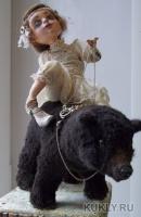 паперклей, антик. ткань, антик. кружево. медведь - текстиль, , 2012