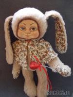 шарниры, текстиль, шерсть, личико - ладол, роспись акрил, акварель, , 2012
