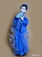 ливинг долл, паперклей, роспись акрилом, бисер, перья, 35 см, 2008