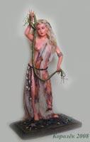 ла долл, акрил,  ткань: натуральная вискоза, волосы: натуральный мохер, подставка: дерево, паперклей, ручная роспись глаз, 54х31х20, 2008