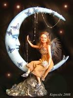 LA DOLL,роспись акрилом, волосы из натур. мохера, высота композиции: 23 см, размер мотылька 14 см,