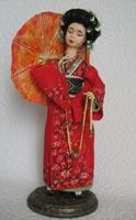 фимо, акрил,волосы из шерсти козы, ручная роспись ткани, 33 см с подставкой, 2009