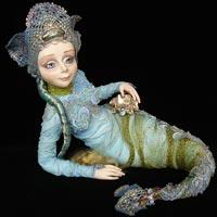 Фимо, натуральный шелк, текстиль, бисер, натуральные самоцветы., 25 х 27 см, 2009
