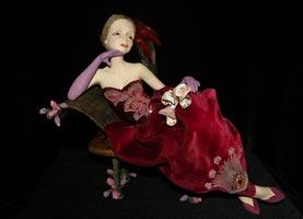 паперклей, текстиль, бисер, кожа, перья, 31 см, 2009