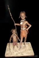 Paperclay, натуральный хлопок, натуральная шерсть, акрил, натуральное дерево, украшения  стиле племени Химба, камни (берег Симеиза), 31 и 16 см, 2012