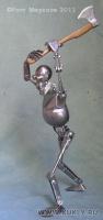 сталь, латунь. Черенок топора – дуб, 18.5 см, 2011