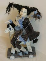 Фимо, дерево, текстиль, ручная вышивка, натуральная кожа, акрил, 47 см, 2008