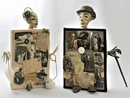 Фарфоровое папье-маше, антикварные (до 1916 года) открытки, фотографии, ноты, монеты, марки, часы, кружева, 62 см, 64 см, 2009