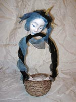 папье-маше, шёлк, антикварные кружева, 38 см, 2010