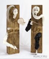 композиция из двух фигур. Фарфоровое папье-маше, дерево, шёлк, 63 см, 2013