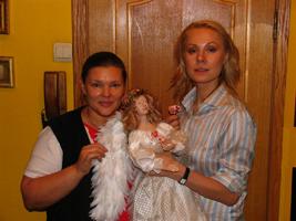 фарфор, ткани, кожа, ручная роспись по фарфору, ручная вязка деталей костюма, 73 см, 2007 г.